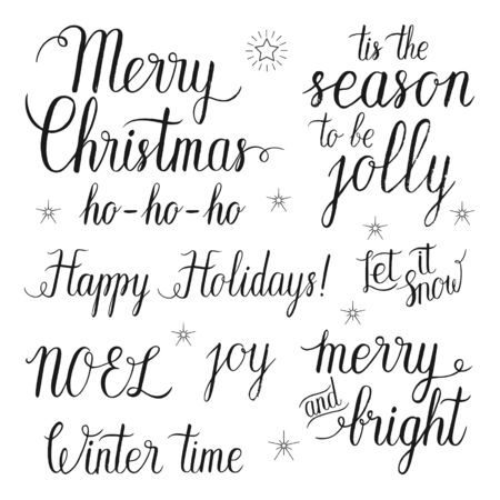 season: Merry and Bright Christmas, Happy Holidays,  Let it snow, Tis the season to be jolly, NOEL, Ho-Ho-Ho, Winter time, joy hand lettering set for greeting cards. Vector hand drawn elements. Illustration
