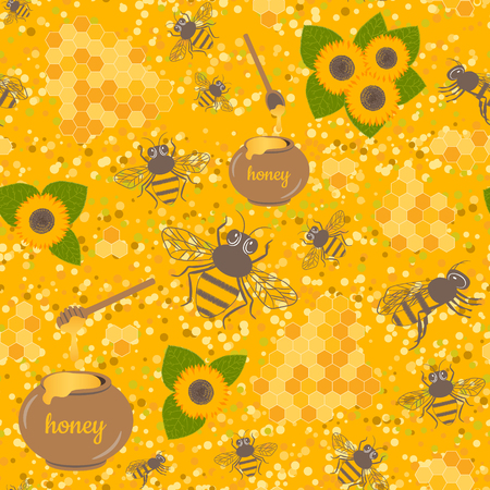 Vector seamless pattern with bee, honeycomb, honey, jar, sunflower. Sweet honey background for beekeeping products.