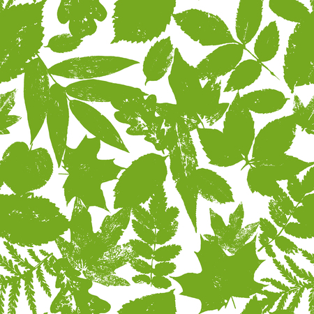 Colourful green summer and spring leaves bunch seamless pattern. Vector grunge design elements for cards, wallpapers, backgrounds and natural product. Ilustrace