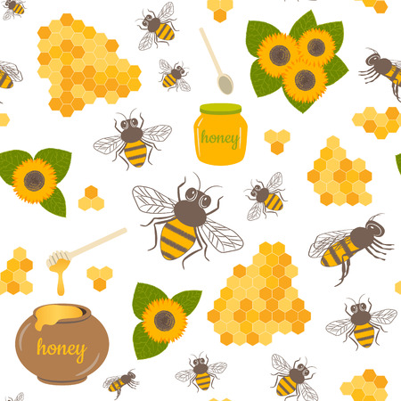 Vector seamless geometric pattern with honeycombs. Sweet honey background for beekeeping products.