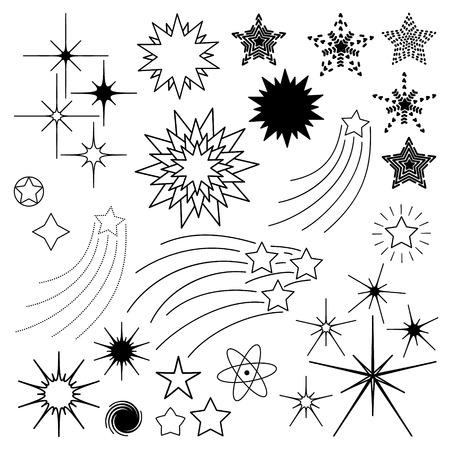 Doodle vector stars set.
