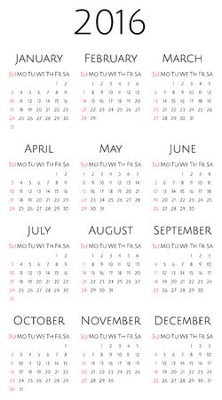 week: Calendar for 2016. Week starts from Sunday. Vector Template.