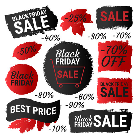 sticker: Black Friday sale, best price gradient banners, labels, round shapes. Vector collection of paint brush strokes isolated on white background. Hand drawn grunge design elements set with autumn leaves.