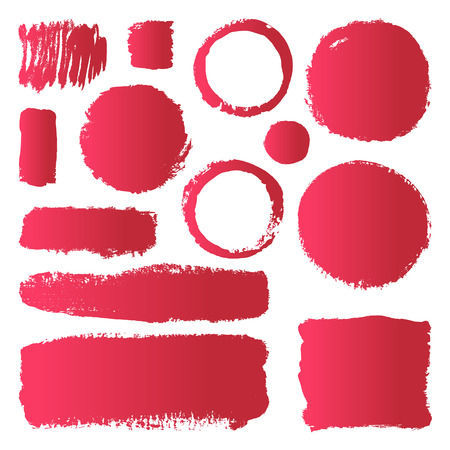 maroon: Hand drawn abstract make up paint brush strokes. Vector set collection of red gradient smears paint isolated on white background.