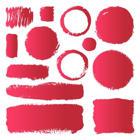 La mano abstracta elaborado componen pinceladas de pintura. Vector conjunto de recopilación de frotis rojos gradiente de pintura aislado en el fondo blanco.