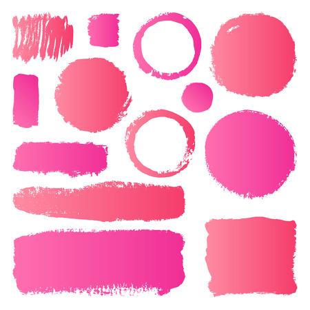 Hand getrokken abstract make-up verf penseelstreken. Vector set collectie van roze gradiënt uitstrijkjes verf op een witte achtergrond. Stock Illustratie