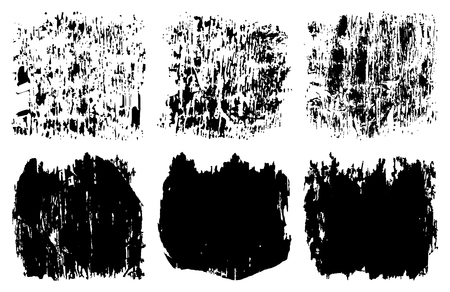 rectangle: Hand drawn abstract black paint brush strokes. Vector set collection of shapes isolated on white background. Round, oval, ellipse, pyramid, circle, rectangle elements for design.