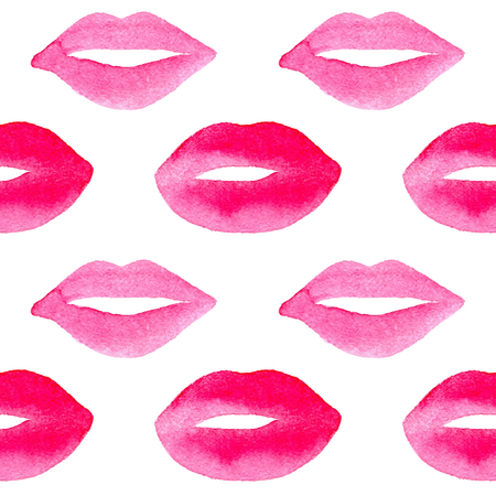 手描き水彩のピンクの唇。ベクトル ネイル スタジオとカード、壁紙、バレンタインの日のための背景のための美容サロンのシームレスなパターン。 写真素材 - 54854921