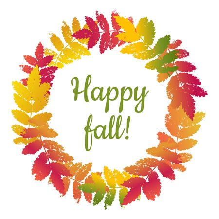 Beautiful gradient colourful wreath of leaves ash tree autumn leaves isolated on white background. Vector grunge design elements. Happy fall.