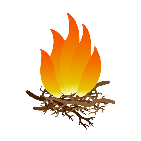 Vector isolated illustration of a fire on a white background. Vettoriali