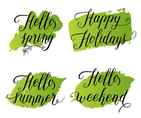 Hello spring happy holidays hello summer hello weekend greeting hello spring happy holidays hello summer hello weekend greeting cards posters set m4hsunfo