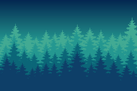 Night pine forest. Colourful background.