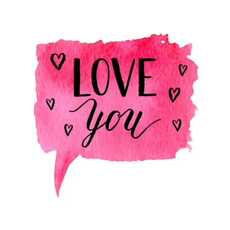 Love you greeting card, poster with ink hand drawn stain. Vector background with hand lettering. Illustration