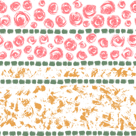 smears: Hand drawn colorful ink abstract grunge seamless pattern. Vector paint brush smears on white background.
