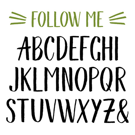 Vector watercolor alphabet. Hand drawn ink font. Illustration