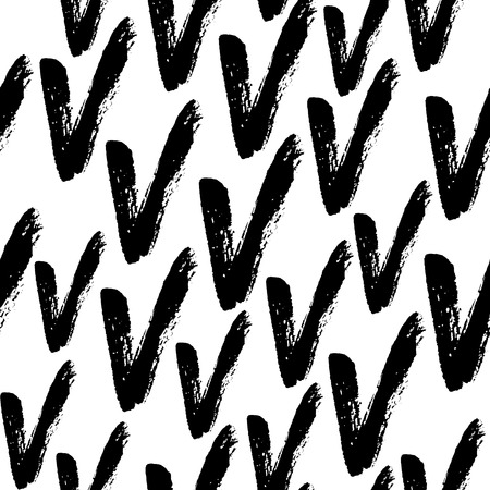 Hand drawn black ink abstract grunge seamless pattern. Vector background.