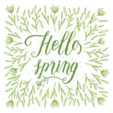 Hallo lente wenskaart, poster, afdrukken. Vectorachtergrond met hand het van letters voorzien, kroon.