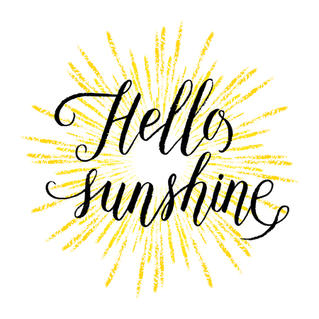 Hello sunshine greeting card, poster with hand drawn rays. Vector background with hand lettering.