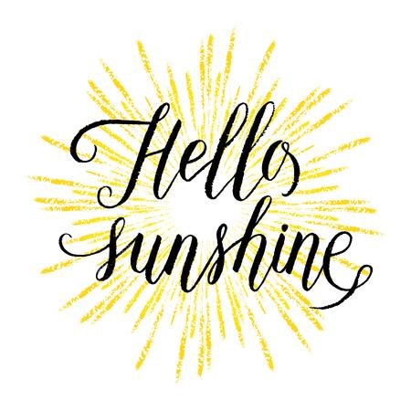 Hello sunshine wenskaart, poster met de hand getekende stralen. Vector achtergrond met de hand belettering. Stock Illustratie