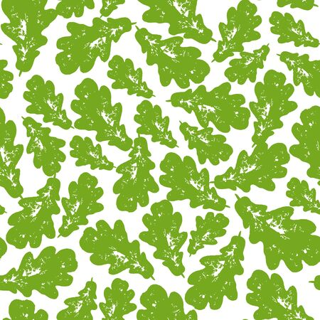 Colourful green summer and spring oak leaves bunch seamless pattern. Vector grunge design for cards, wallpapers, backgrounds and natural product. Иллюстрация