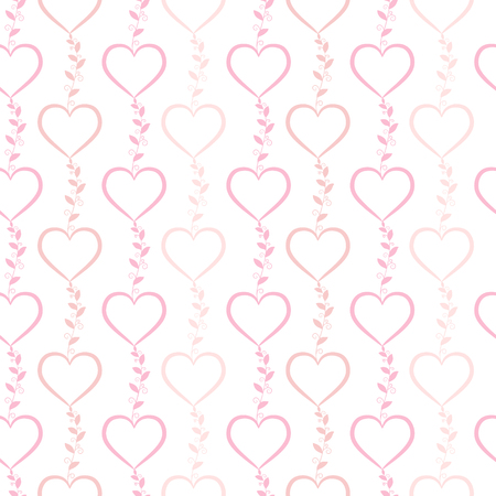 spring bed: Vector seamless pattern with cute pink doodle hearts.