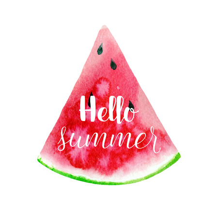 Hello summer greeting card, poster, print. Vector  typographical background with Hand drawn watercolor watermelon abstract paint texture. Ilustração
