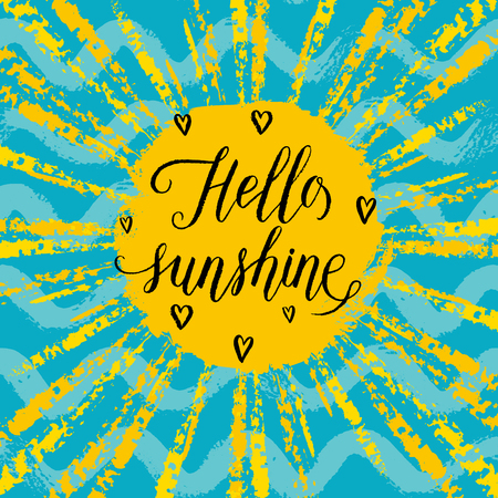 wave hello: Hello sunshine greeting card, poster, print. Vector background with hand lettering, sun rays, hearts, wave, sun and sea. Illustration