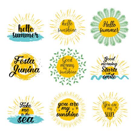 Hello summer, sunshine, Festa Junina, Good morning my sunshine, Take me to the sea calligraphic designs set. Vector background with hand lettering. Vektorové ilustrace