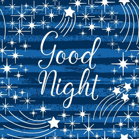 Good night indigo night sky with hand lettering, stars, striped seamless pattern. Vector ink abstract background.