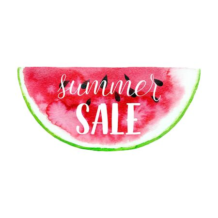 Summer sale greeting banner. Vector typography background with hand drawn watercolor watermelon abstract paint texture.