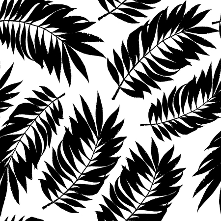 Summer tropical palm tree leaves seamless pattern. Vector grunge design for cards, wallpapers, backgrounds and natural product. 일러스트