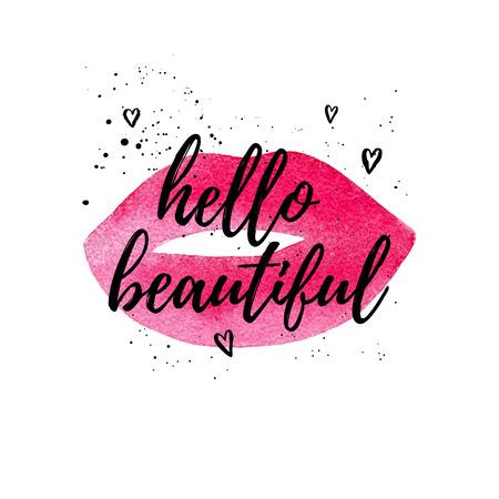 Hello mooi wenskaart, mode poster. Vector hand belettering citaat op roze aquarel lippen textuur. Vector hand getrokken geschilderde achtergrond. Stock Illustratie
