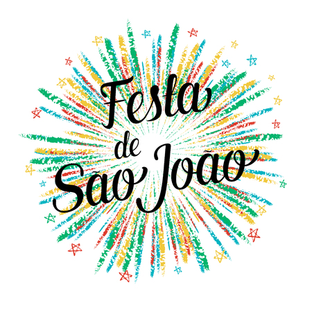 partying: Festa de Sao Joao colorful summer holiday calligraphic poster, illustration.