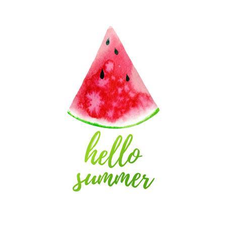Hello summer greeting card, poster, print.