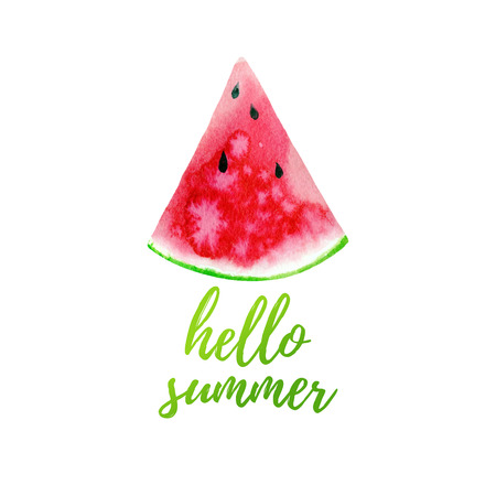 Hello summer greeting card, poster, print.