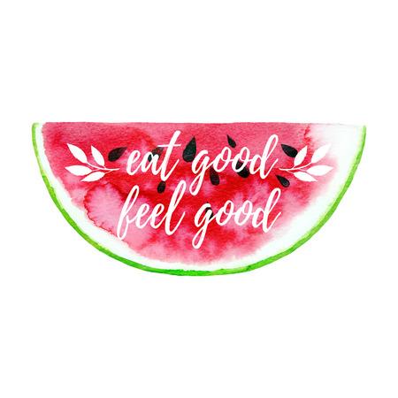 Eat good feel good fitness greeting card, poster, print.