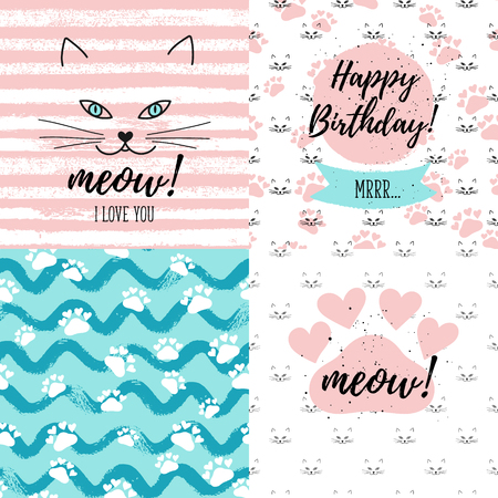 Meow I Love You Happy Birthday Fashion Graphic Print Greeting