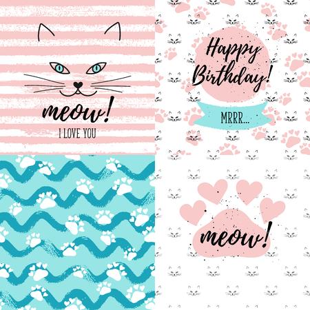 meow: Meow! I love you, Happy Birthday fashion graphic print, greeting cards set.