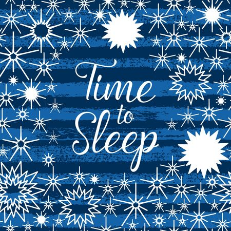 Time to Sleep indigo night sky with hand lettering, stars, striped seamless pattern.