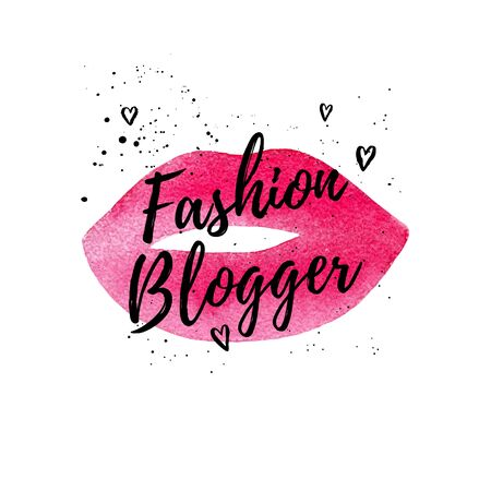 blog icon: Fashion beautiful card, poster for web. typography poster on pink watercolor lips. hand drawn painted background. Fashion graphic print for girl.