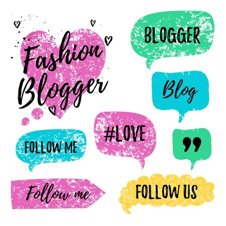 follow me: speech bubbles with phrases Fashion , Blog, #love, follow me. Hand drawn speech bubbles, blog label in grunge style with hashtag. Social media icons set. Follow us, follow me. Illustration