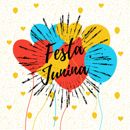 carnaval: Festa Junina colorful summer calligraphic poster, illustration. Vector carnaval background with balloons, confetti.