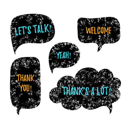 thanks a lot: Hand drawn speech bubbles in trendy grunge style. Vector speech bubbles with phrases Lets talk, Thank you, Welcome, Thanks a lot. Doodle vector speech bubbles set. Illustration