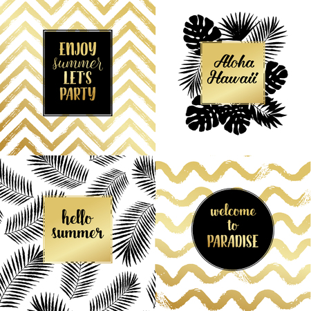 lets party: Hello summer, Enjoy summer lets party, Aloha Hawaii fashion typography posters, greeting cards set in black, gold and white. Vector summer background with tropical palm tree leaves, strips.