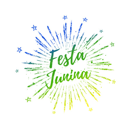 carnaval: Festa Junina colorful gradient summer calligraphic poster, illustration. Vector firework carnaval background with stars.