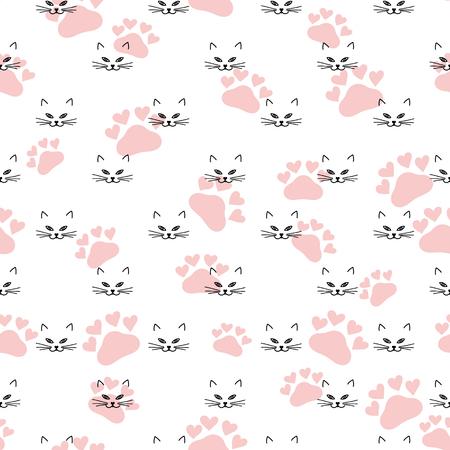 Seamless avec le chat et l'empreinte de chat. Vector mode arrière-plan. Banque d'images - 58325950