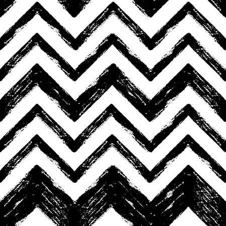 smears: Hand drawn black and white ink abstract ZigZag striped seamless pattern. Vector grunge texture. Monochrome paint brush smears on white background.