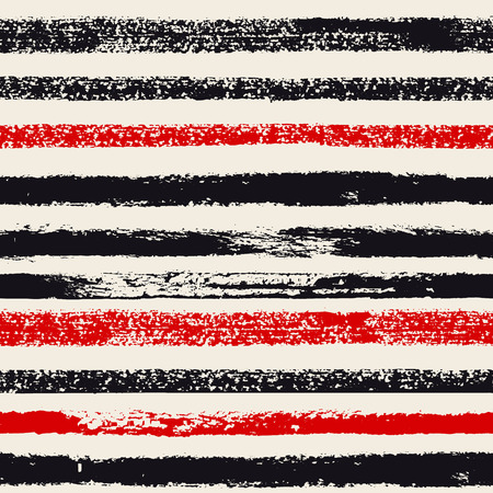 smears: Hand drawn black and red ink abstract stripe seamless pattern. Vector grunge texture. Monochrome paint brush smears on white background.
