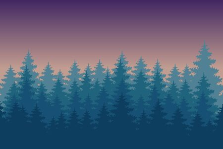 tres: Sunset pine forest. Colourful background.