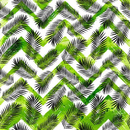 stripe texture: Watercolor tropical background with palm leaves on ZigZag stripe texture. Raster summer design. Stock Photo